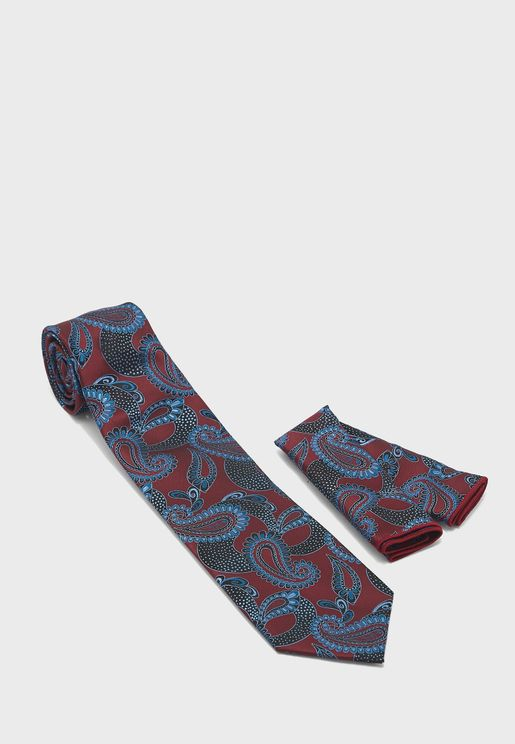 طقم ربطة عنق ومنديل جيب مربع