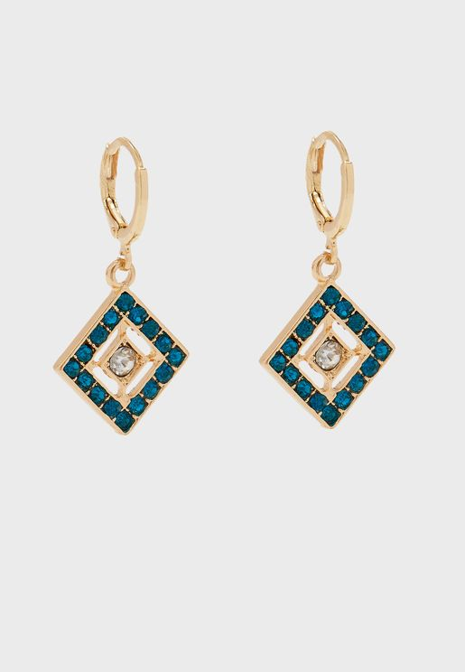 Blue Stone Triangle Drop Hoop Earrings