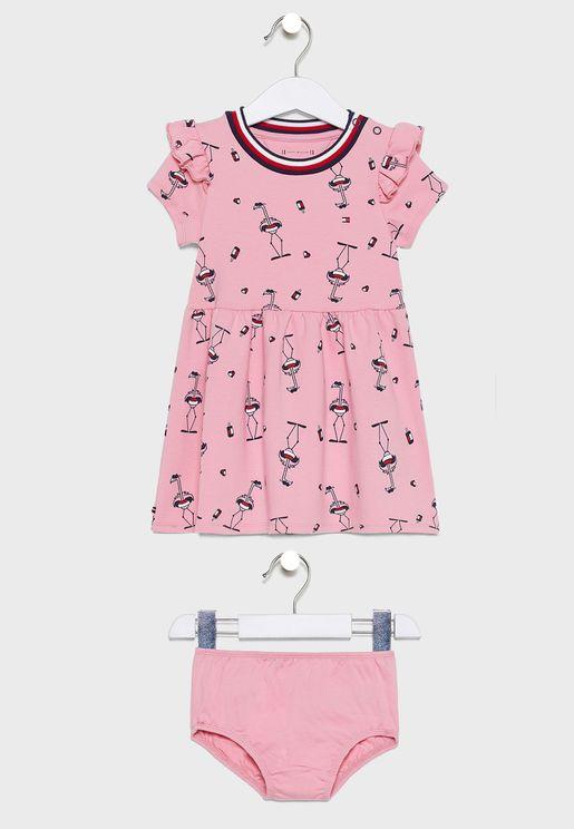 فستان بطبعات فلامينغو + سروال للرضع