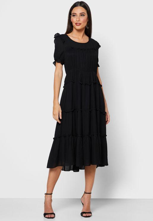 فستان ميدي مكشكش
