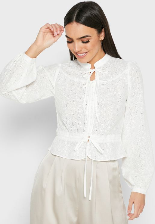 Lace Up Detail Puff Sleeve Top