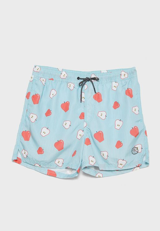 Apple Print Swim Shorts