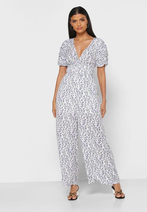 Ruffle Shoulder Plunge Neck Jumpsuit