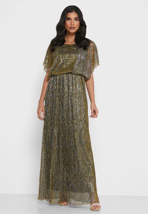 Ruched Waist Shimmer Dress