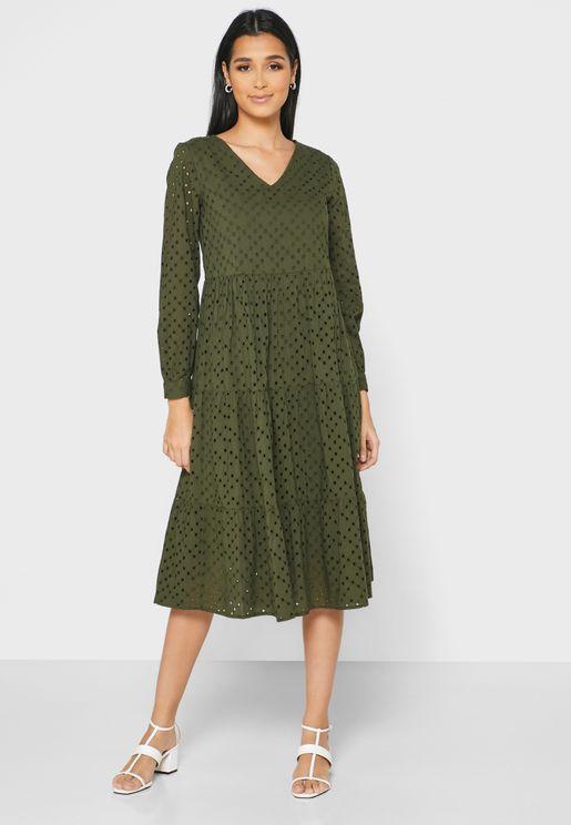 V-Neck Laser Cut Dress