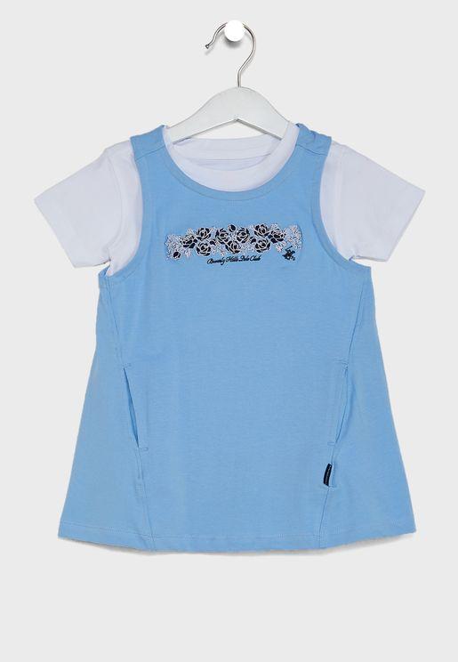 Little Essential T-Shirt + Embroidered Dress Set