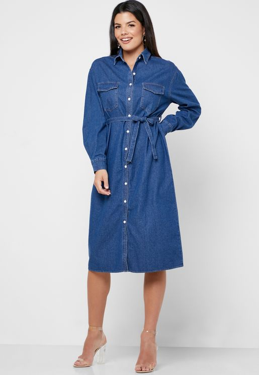 Tie Waist Denim Shirt Dress