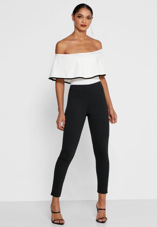 Contrast Ruffle Bardot Jumpsuit