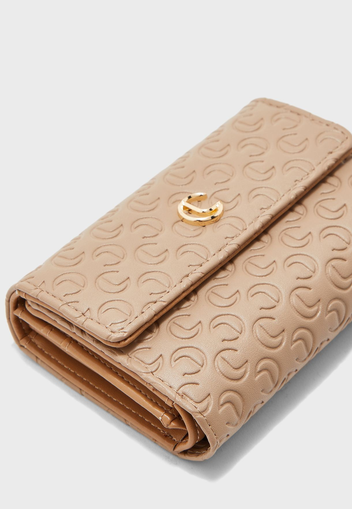 Snake Print Textured Bifold Purse