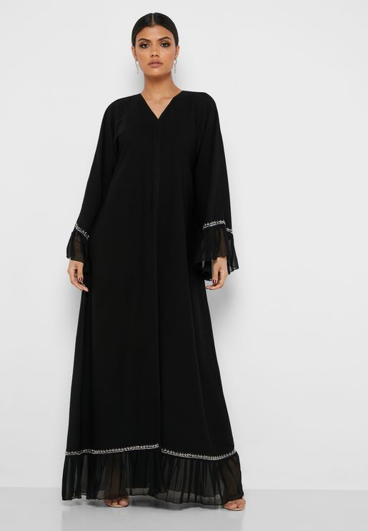 Ruffle Hem Pleated Sleeve Abaya