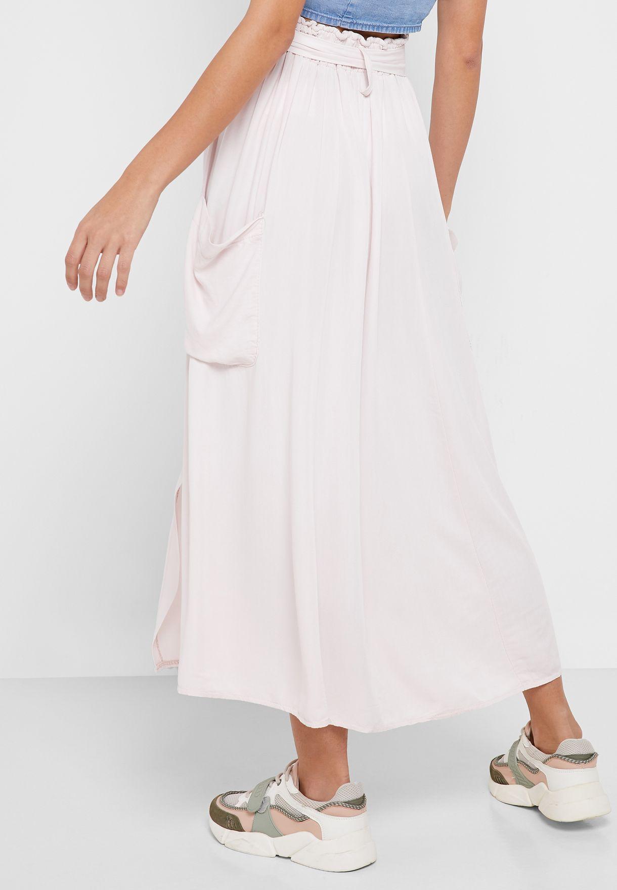 Linen Self Tie Midi Skirt