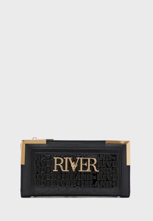 River Embossed Metal Corner Clutch
