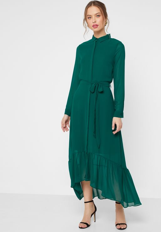 Ruffle Detail Belted Maxi Shirt Dress a6398d13f12e