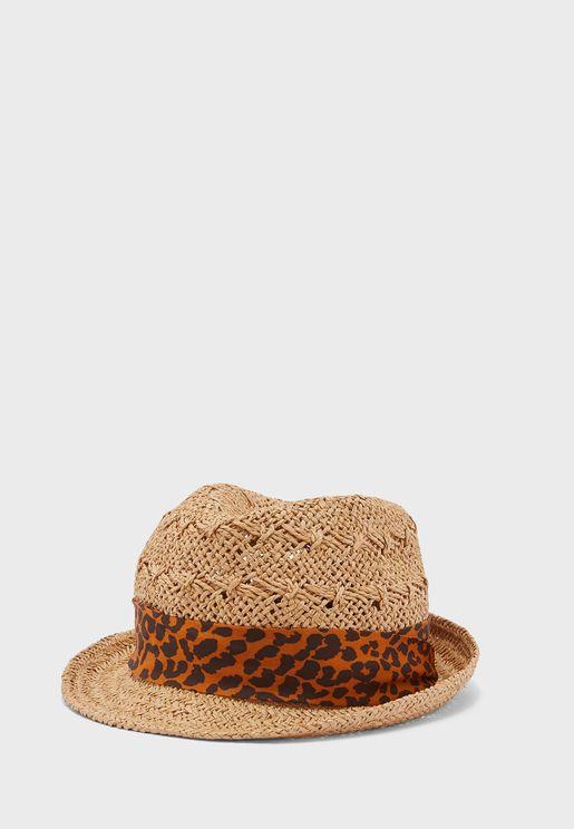 قبعة قش بطبعات ليوبارد