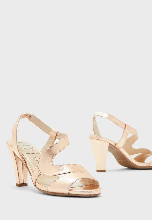 حذاء جلد اصلي بكعب عالي