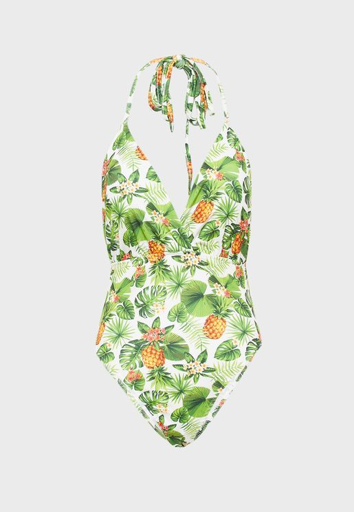 Printed Halterneck Swimsuit