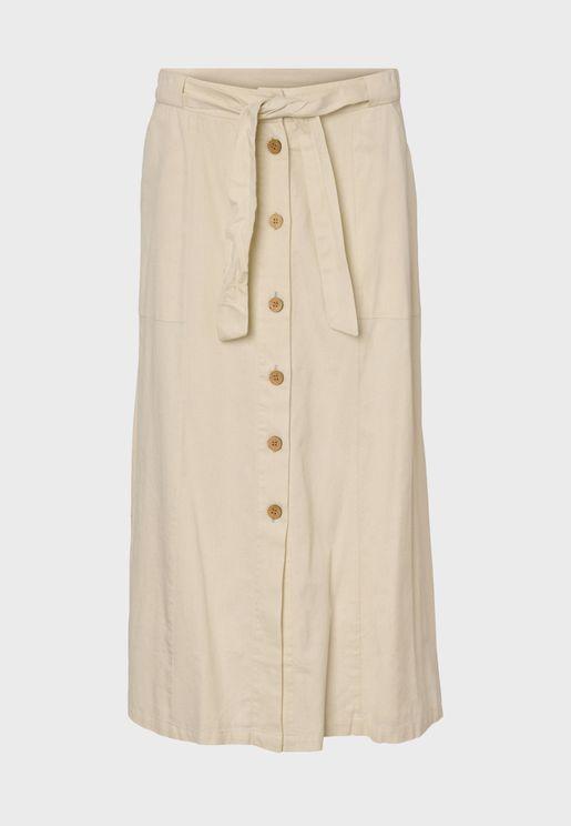 Tie Waist Button Down Skirt