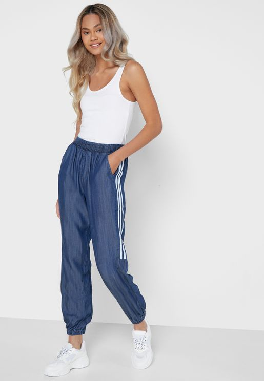 Cuffed Hem Side Panel Jeans