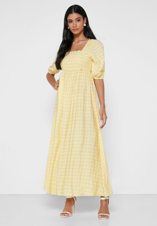 Square Neck Shirred Dress