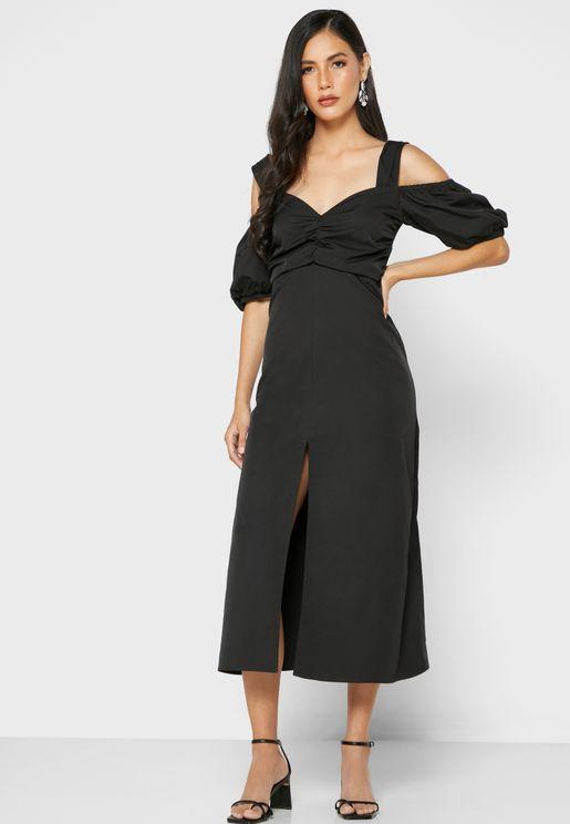 Cold Shoulder Front Split Dress