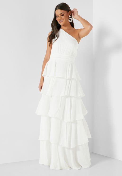 Tiered One Shoulder Dress