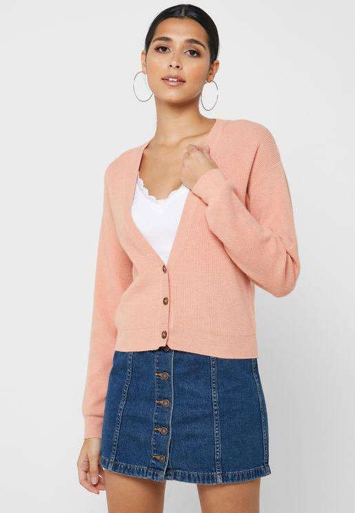Drop Shoulder Button Down Cardigan