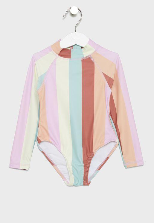 Kids Rainbow Stripe Swimsuit