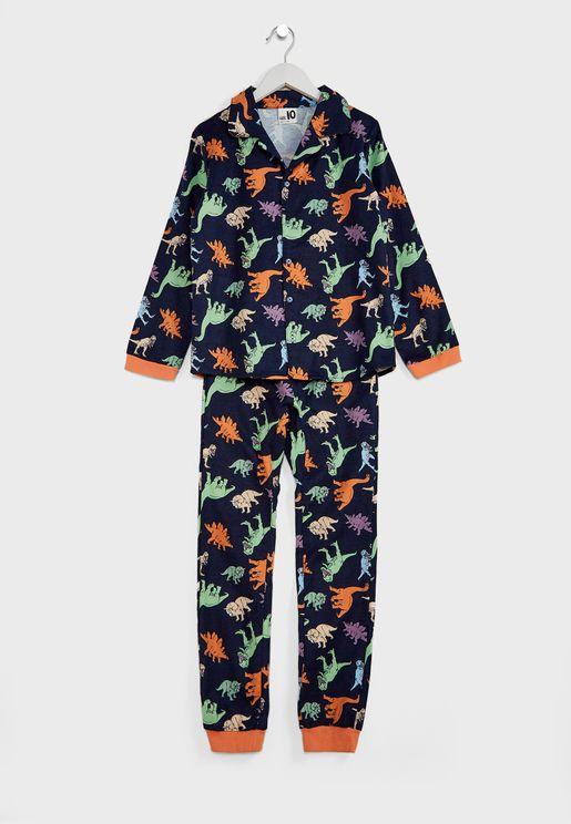 Kids Multi Dino Print Pyjama Set