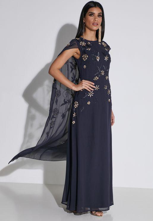 فستان باكمام كيب
