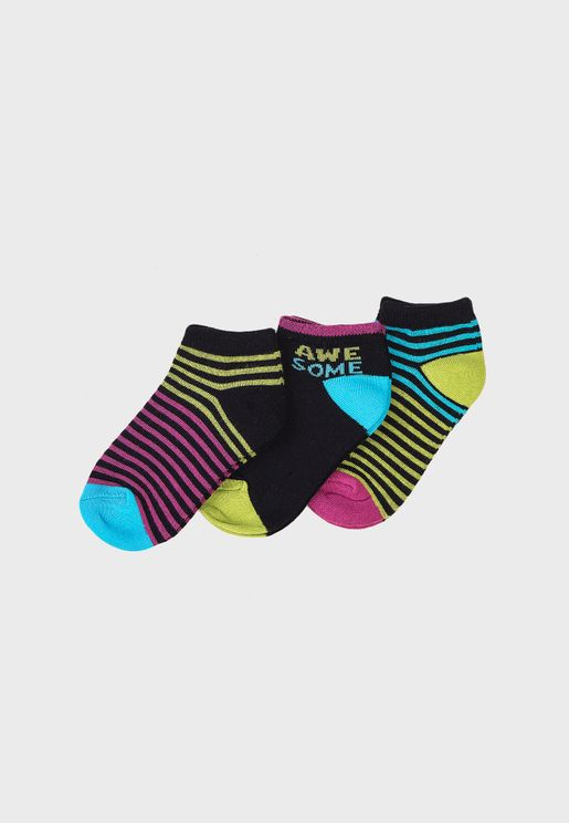Kids 3 Pack Striped Trainer Socks