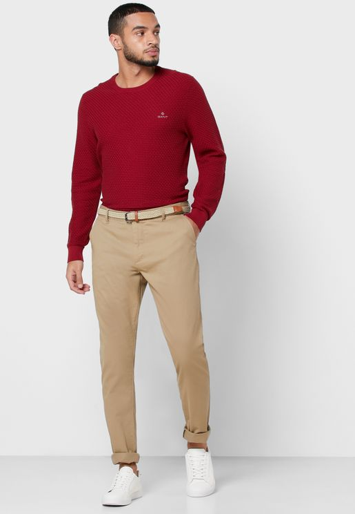 Belted Slim Fit Chinos
