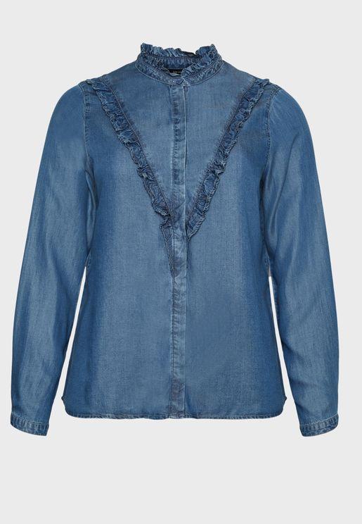 قميص جينز بكشكش