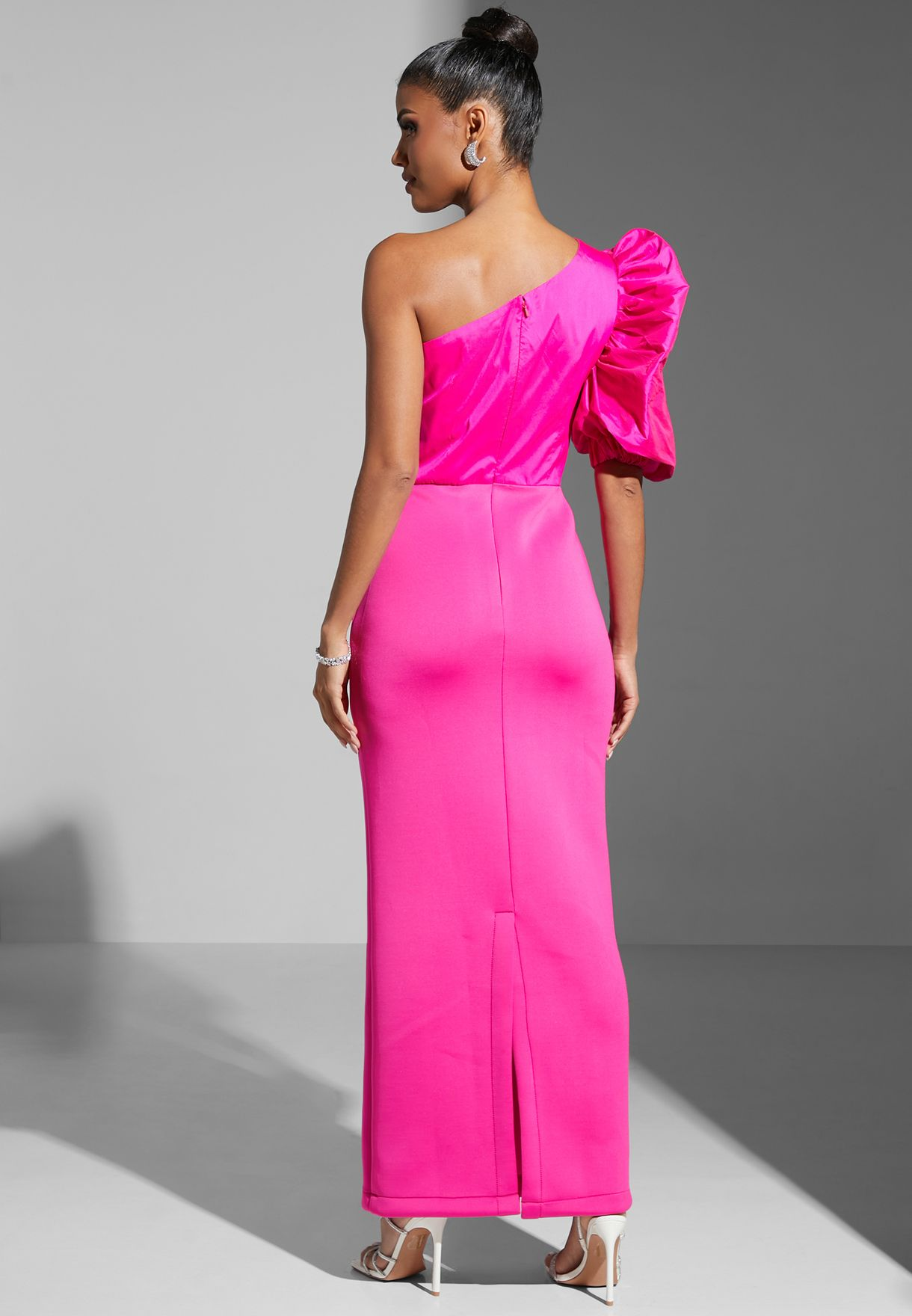 One Shoulder Puff Sleeve Gown