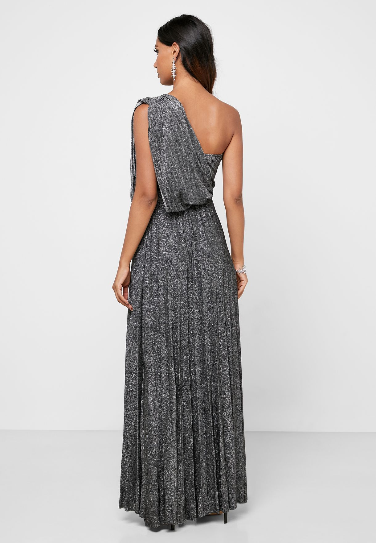 Lurex One Shoulder Pleated Maxi Dress