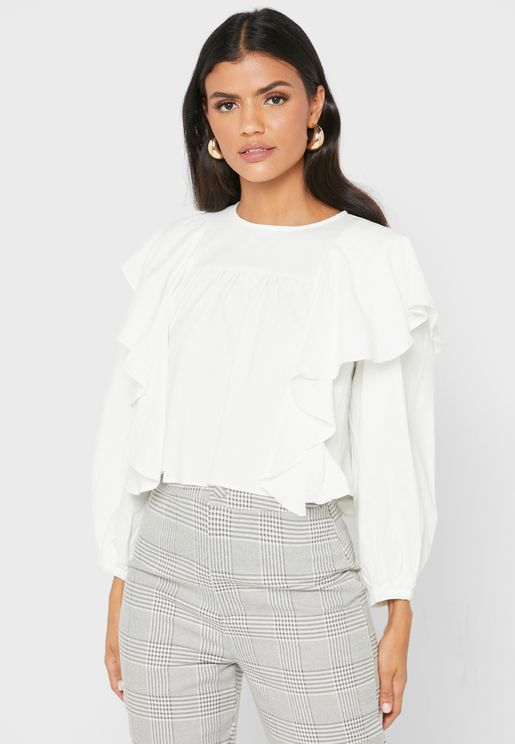 Ruffle Paneled Puffed Sleeve Top