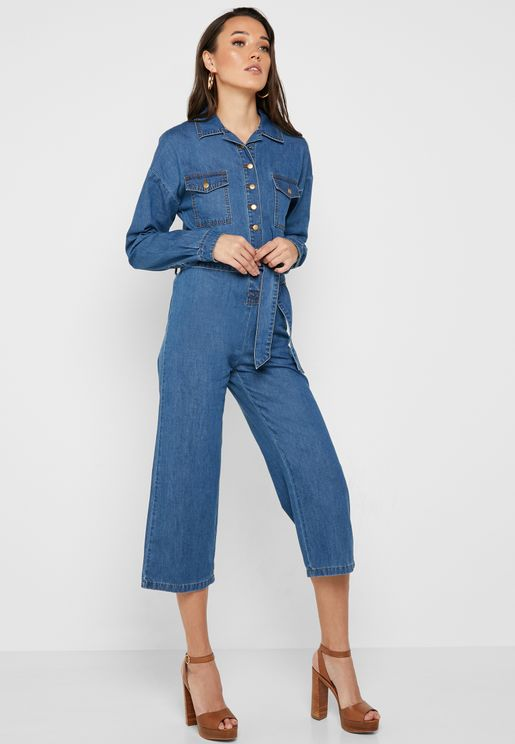 Belted Denim Boilersuit