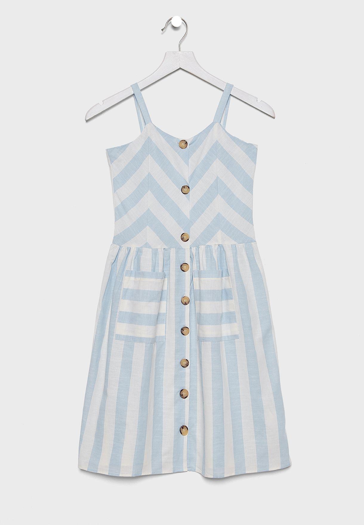 Kids Cold Shoulder Striped Dress