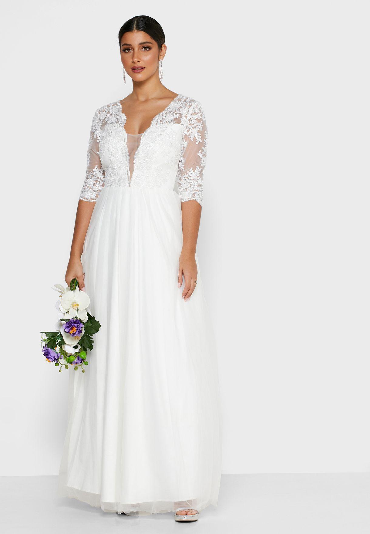Scallop Detail Lace Dress