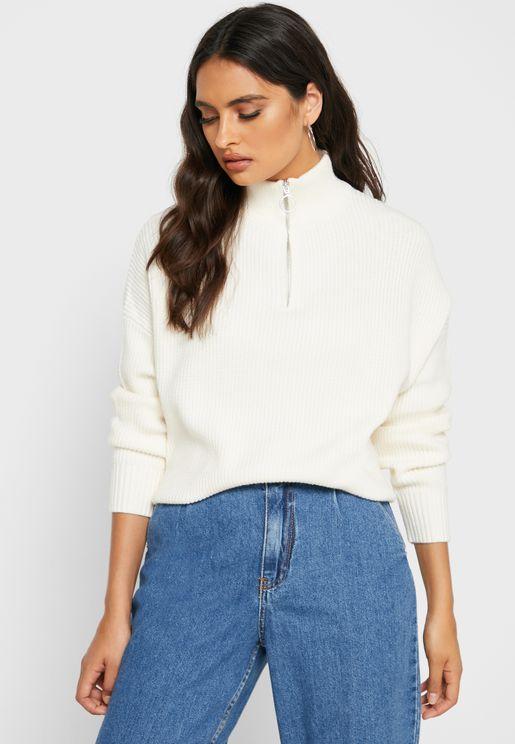 Zip Detail High Neck Sweater