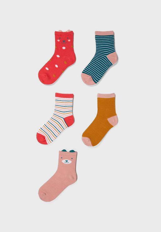 Kids 5 Pack Assorted Crew Socks