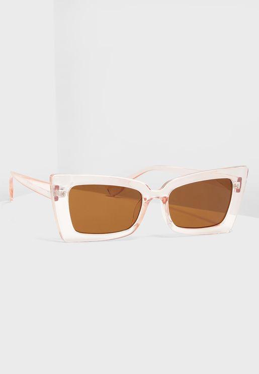Pink Frame Square Sunglasses