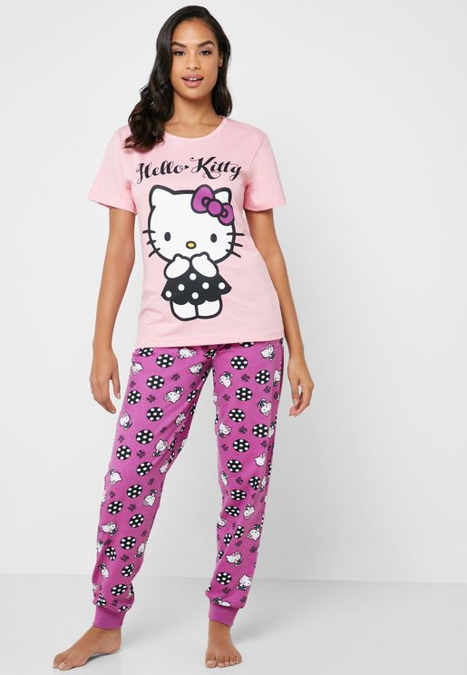 Logo T-Shirt & Printed Pyjama Set
