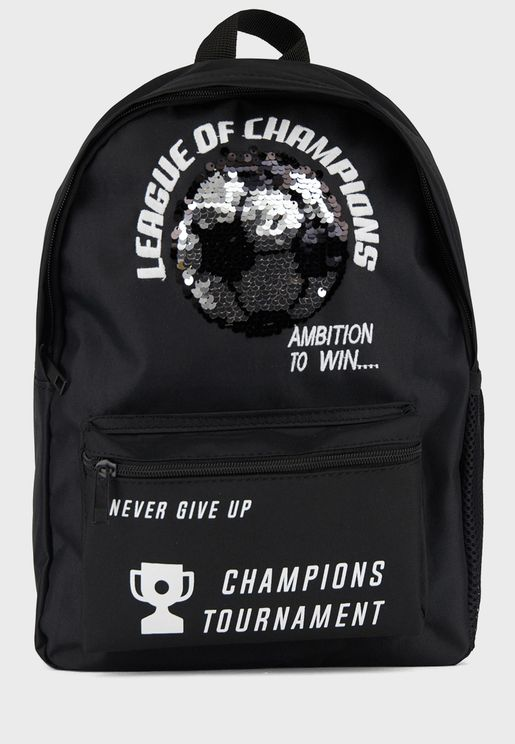 Kids Sequined Football Backpack
