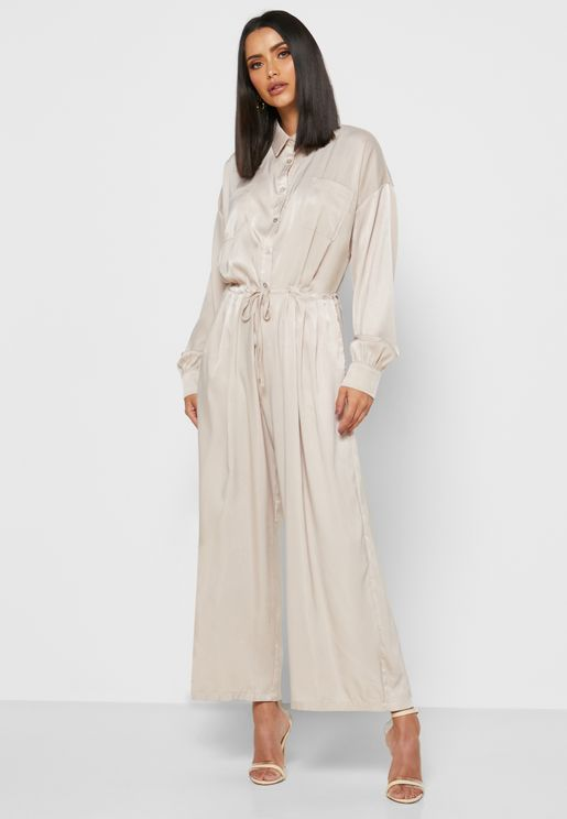 Drawstring Shirt Jumpsuit