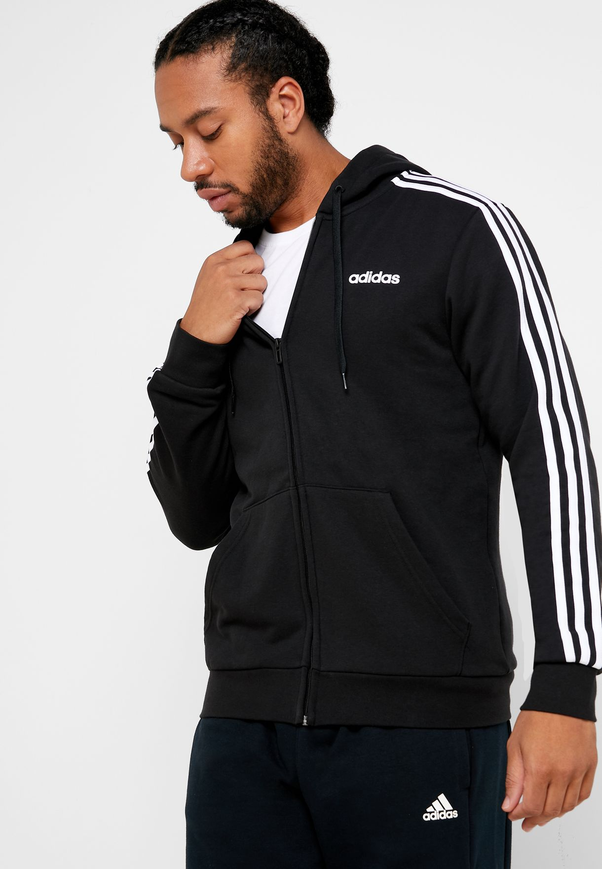 3 Stripes Essentials Sports Men's Track Top Hoodie