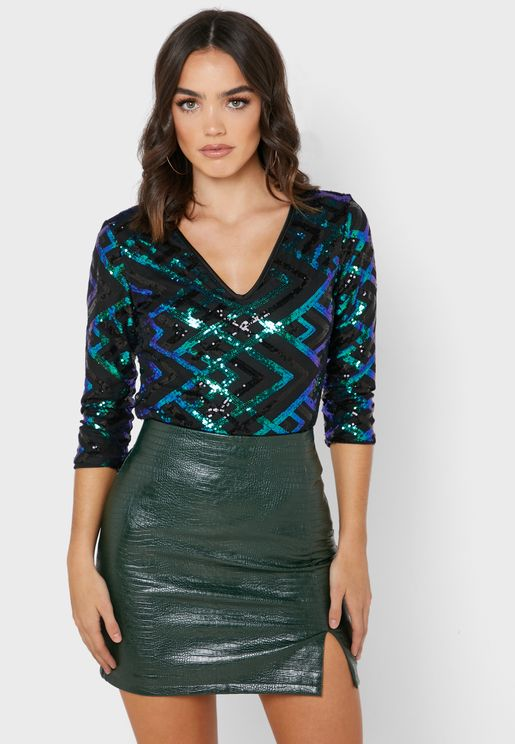 V-Neck Sequin Top