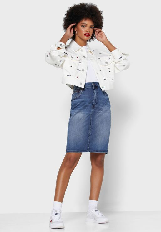 Zip Detail Denim Skirt
