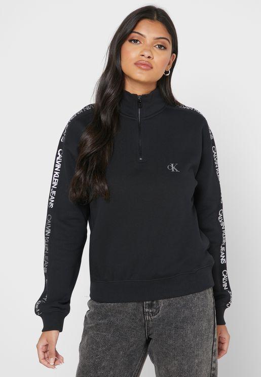 Mock Neck Logo Sweatshirt
