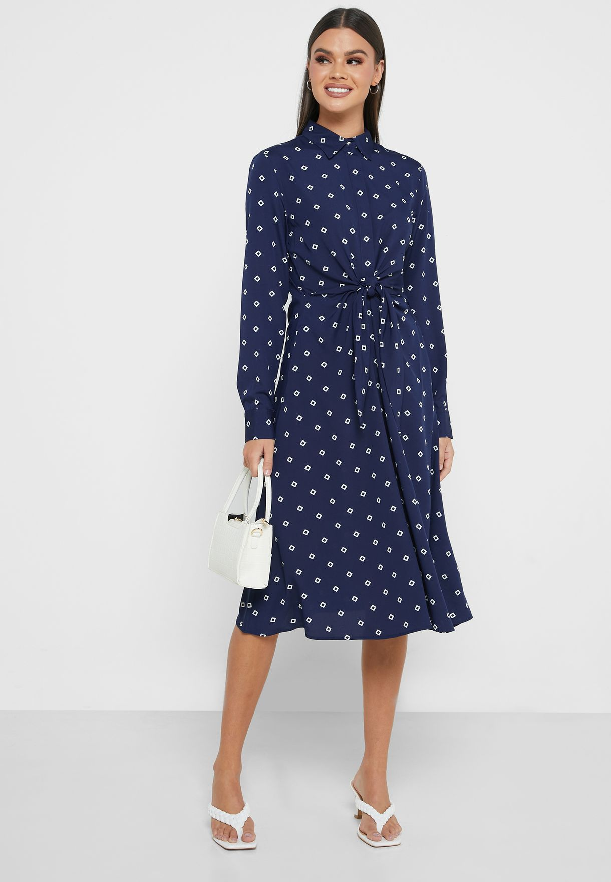 Kahwell Tie Waist Shirt Dress