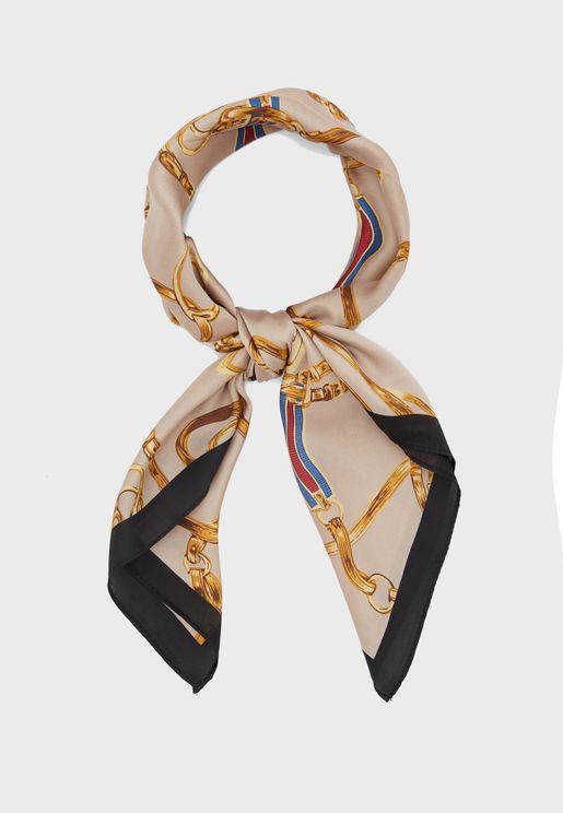 Chain Print Silk Scarf
